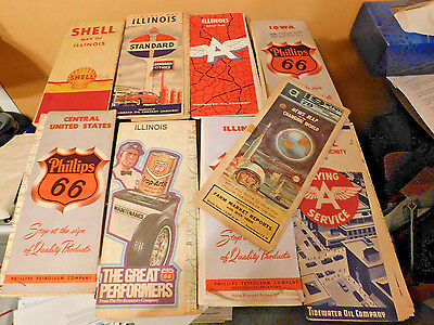 9 Old Gas Pump Station Road Maps,  Flying A, Shell, Phillips 66, Standard oil