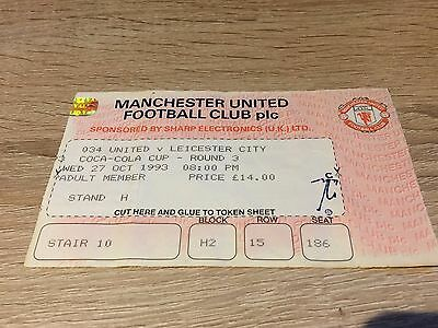 Manchester United V Leicester City League Cup 1993/4 Ticket Stub