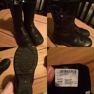 Girls Clarks Black Boots Size 10.5F