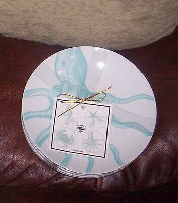 """222 Fifth Coastal Life Canape Dessert Party Plates  NWT S/4 Turquoise 6 1/4"""""""