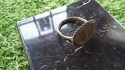 Beautiful large Rare Viking Bronze ring with bezel Silver inlay wearable unique