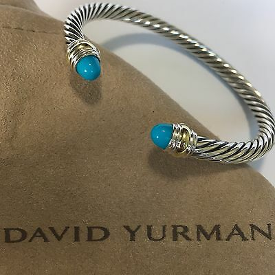 David Yurman Sterling Silver 925 & 14k Gold 5mm Cable Turquoise Cuff Bracelet