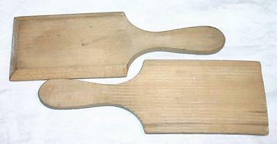 """Pair of Small Vintage Grooved Butter Pats Paddles 9"""""""