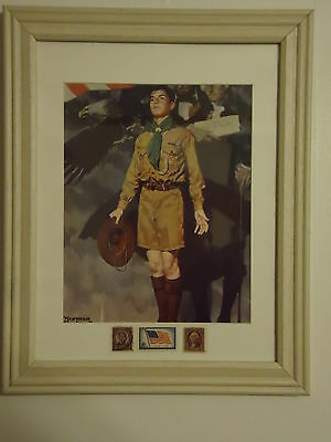 Boy Scout Norman Rockwell Print with Vintage US Postage Stamps Framed