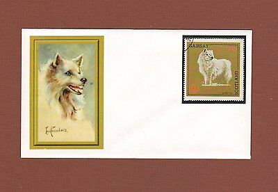 Samoyed dog handcrafted one-of-a-kind envelope with stamp & cachet
