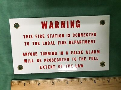 Gamewell PORCELAIN WARNING SIGN Fire Alarm Box N.O.S.