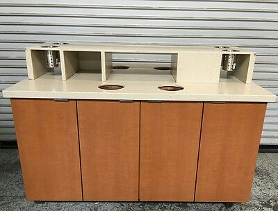 """60"""" Double Sided Condiment Coffee Prep Station Starbucks #6579 Cafe Cabinet Cart"""