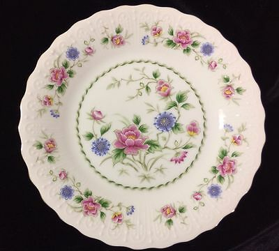 """SET of 6 'SPRING NIGHT' GOLD RIMMED 7.5""""  FINE CHINA PLATES ~ ANDREA BY SADEK"""