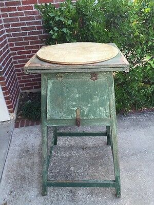 Antique Texas Fire Tower Map Table  Vintage Industrial Tall Wine Serving Stand