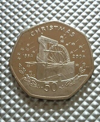 2004 Isle of Man 50p Fifty Pence Christmas Coin  BUNC LAXEY WHEEL  Scarce