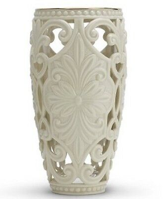 REAL 24K GOLD Trim China Porcelain LENOX Classic Pierced Scroll Vase Ivory Color