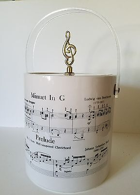 Vintage Cera Sheet Music Insulated Ice Bucket treble clef lid - rare, new in box
