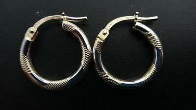 9ct Yellow Gold, 1.1g, Patterned Hoop Earrings