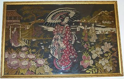 Antique Estate Item Japanese Needlepoint Geisha Embroidery