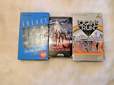 Cult Classic Movies VHS Lot of 3 Freaks The New Gladiators Logan's Run