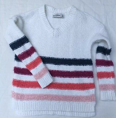 Abercrombie Kids Girls Knit Sweater Size 5/6 White Stripes