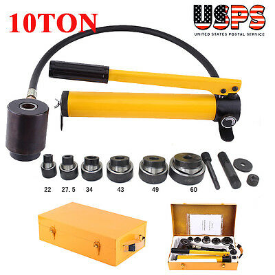 10 Ton 6 Dies Hydraulic Knockout Punch Driver Kit Hand Pump Hole Tool Free Case