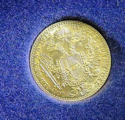 22CT YELLOW GOLD 3.5grams 1915 DUCAT COIN (TESTED) - 92558