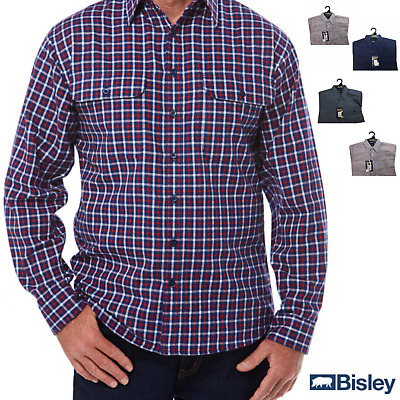 100% Cotton BISLEY LONG SLEEVE SHIRT Everyday Casual Business Work Check