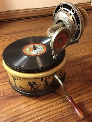 Rare Vintage Nifty Nirona German Toy Wind Up Phonograph Gramophone Record Player