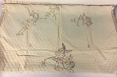 Vintage Quilted Disney Thumper Rabbit Baby Child Blanket Embroidered Silky