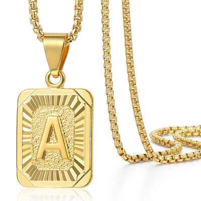 """Gold Filled Square Initial Letter A-Z Pendant Necklace 2mm 18-36"""" Box Link Chain"""