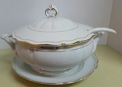4 Pc Soup Tureen with White with Gold Trim, vintage,