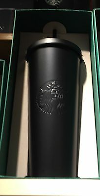 Starbucks 2016 Matte Black Stainless Steel Cold Cup 24 oz NEW