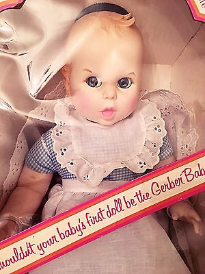 "Vintage ""GERBER BABY"" 17"" Doll 1979 in Blue/White Gingham Moving Eyes with Box"