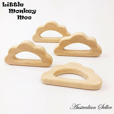 1 x Cloud Wooden Teething Natural Organic Beech Wood Teether Baby Toy Untreated