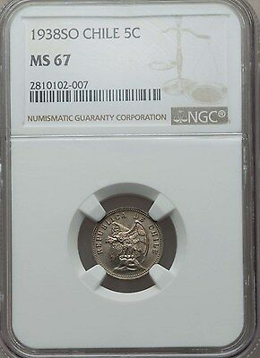 1938 SO Chile 5 Centavos, NGC MS 67, Single Finest Known, Superb