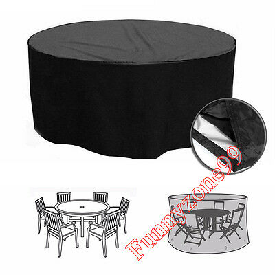 4-6 Seater Round Waterproof Outdoor Furniture Set Table Chair Cover AU 185x110cm