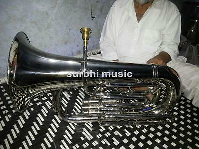 Big Tuba Jumbo size Eb  Low Pitch in Silver Chrome With Free Case & Mouth Pc
