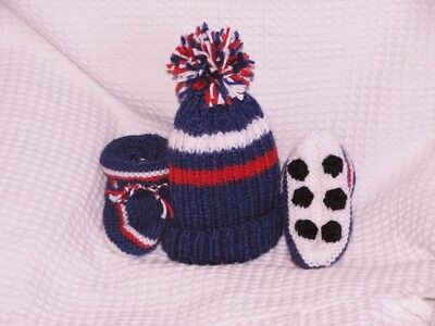 HAND KNITTED SYDNEY ROOSTERS FOOTBALL BABY BEANIE & BOOTIES SET 0- 3 mths