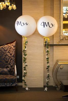 Mr and Mrs Wedding Balloons - Giant White with Black Script Writing Bachelorette