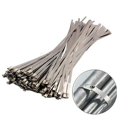 100PCS 300x4.6x0.25mm Stainless Steel Exhaust Wrap Coated Locking Cable Zip Ties
