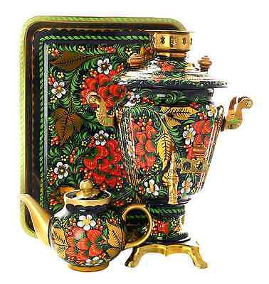 "Russian Electric Samovar Tray Teapot Set ""Khokhloma classic"" 