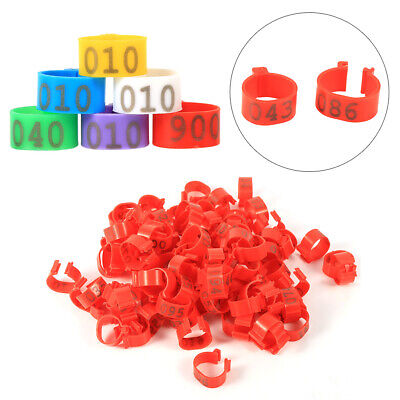 100PCS 16MM 001-100 Numbered Plastic Poultry Chicken Duck Goose Legs Band Rings