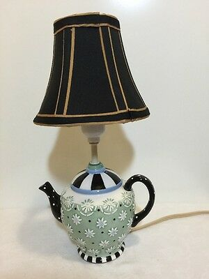 Mary Engelbreit ME Ink Teapot Accent Table Lamp 1998 Black White Green Floral