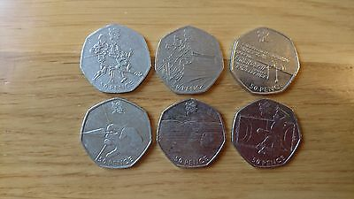 Olympic 50p coins set of 6