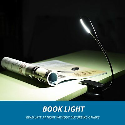 4 LED Eyes Care Clip-On Book Bright Light Lamp Rechargeable Portable Stand Light