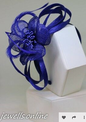 Royal Blue Flower Mesh Headband Fascinator Wedding Ladies Race Day Accessories
