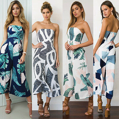 UK Womens Holiday Floral Strapless Summer Beach Long Wide Leg Jumpsuit Dress