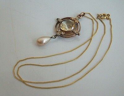 Antique Victorian 9Ct Rolled Gold Citrine And Faux Pearl Necklace