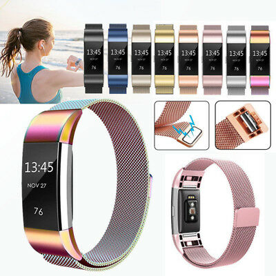 Fitbit Charge 2 Strap Replacement Milanese Loop Band Stainless Steel Magnet Lock