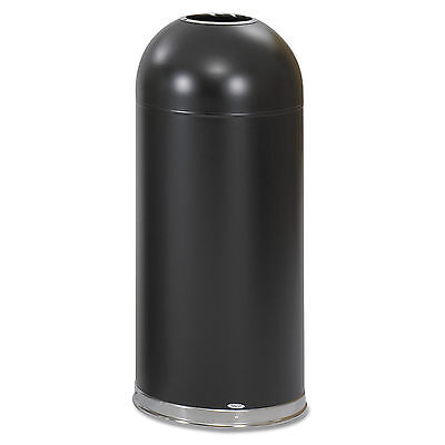 Safco Open-Top Dome Receptacle, Round, Steel, 15gal, Black