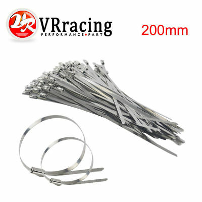 "100pcs 7.8"" Stainless Steel Header Exhaust Wrap Self Locking Cable Zip Tie Strap"