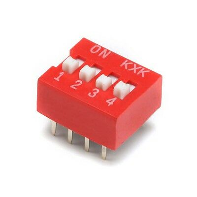 4 Way DIP DIL Toggle Switch PCB Mounting Red