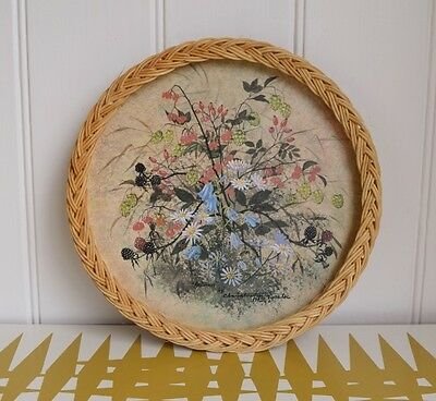 Vintage Serving tray, Autumn Floral with wicker trim. Retro Kitchen & Dining