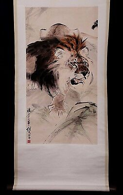 Exquisite Vintage Chinese Handwork Lion Scroll Painting Collection Mark KK363